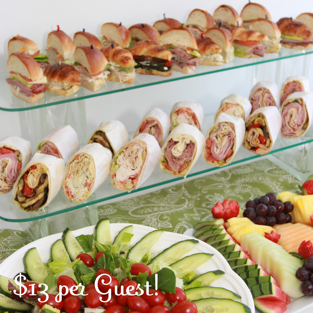 Delicious mini sandwiches and wraps for showers and corporate events by Pierrot Catering