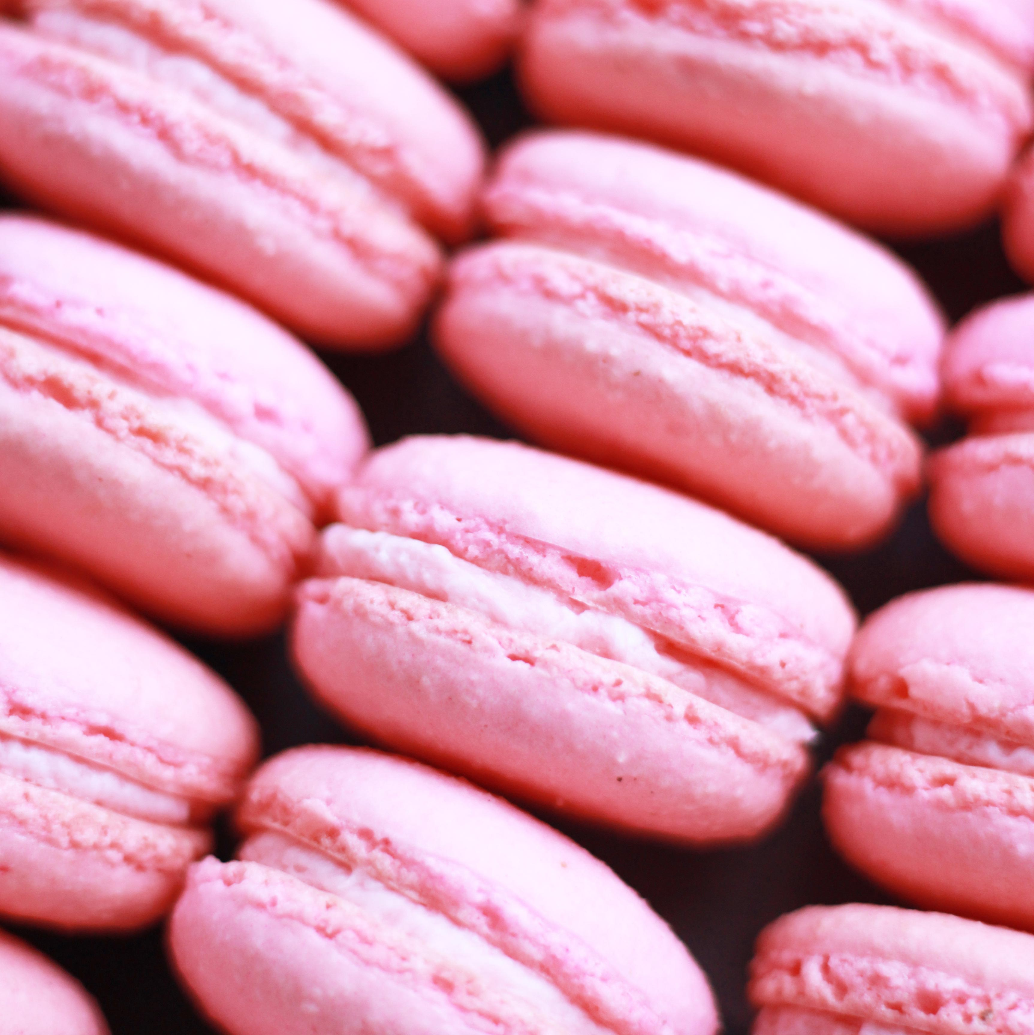 raspberry macarons from Pierrot Catering in New Jersey