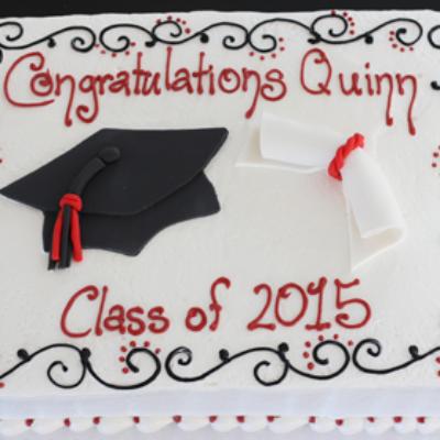 Cap and Diploma custom sheet cake