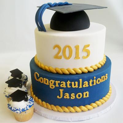 fondant custom graduation cake and cupcakes