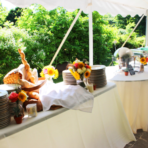 wedding catering bread display and dinner buffet