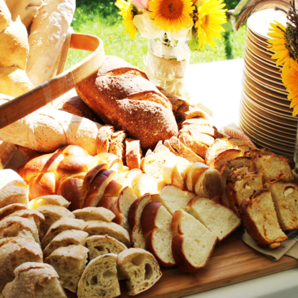 wedding catering bread display