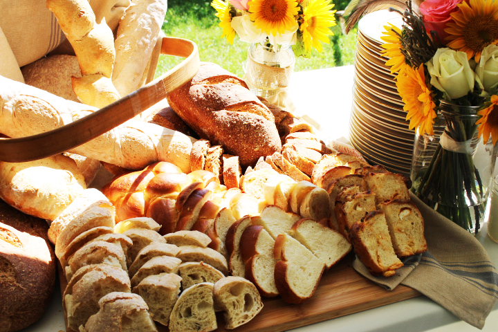 bread display at wedding