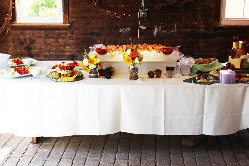 wedding catering stationary appetizer display