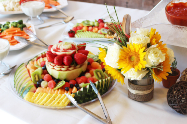 fruit platter with carved watermelon table display