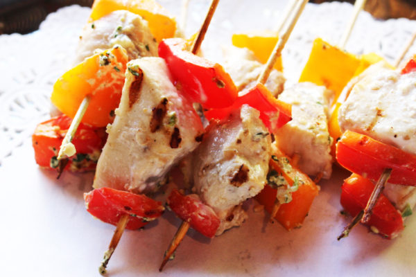 grilled chicken and pepper skewers