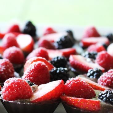 wedding catering chocolate mousse cups with fresh fruit