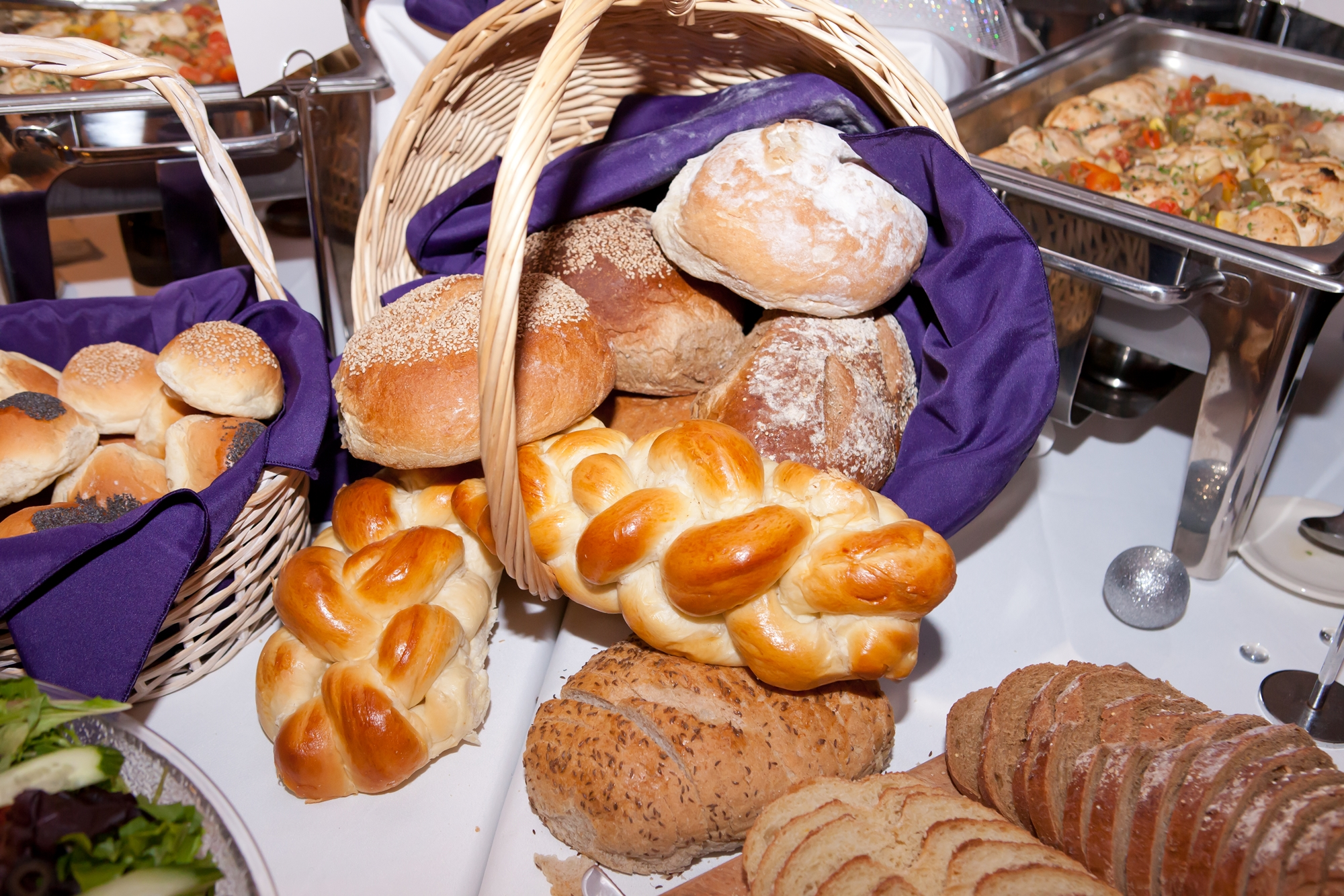 wedding catering bread display