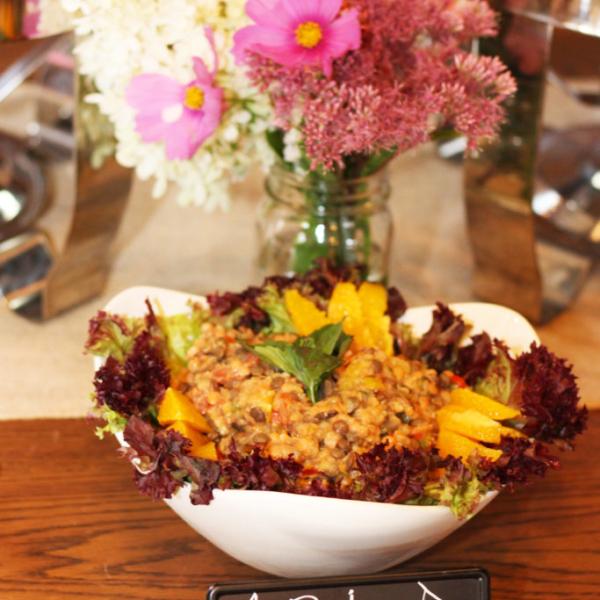 vegan wedding catering red lentil salad