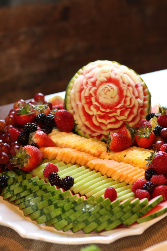 fruit platter with carved watermelon