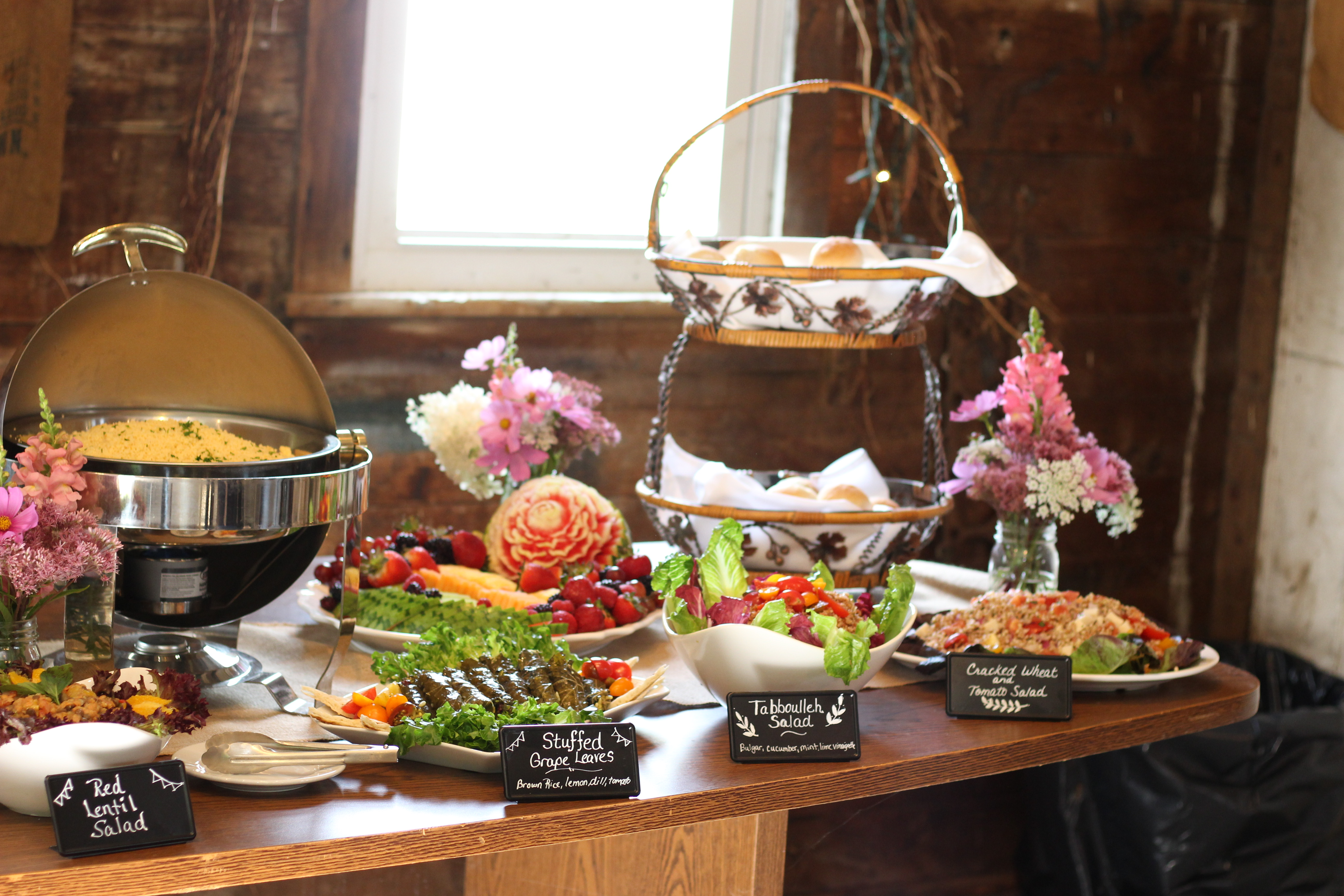vegan wedding catering dinner buffet display