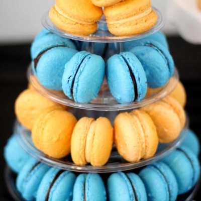 french macarons on decorative tree stand by bakery in northern new jersey cafe pierrot