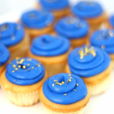 graduation colored mini cupcakes