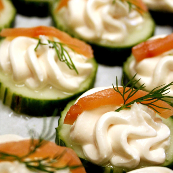 smoke salmon mousse in cucumber cups appetizers