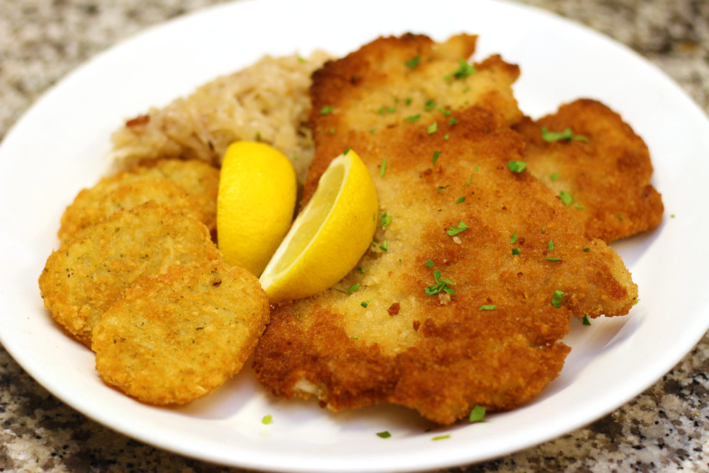 pork schnitzel oktoberfest catering from Pierrot Catering in Sparta NJ Sussex County Morris County