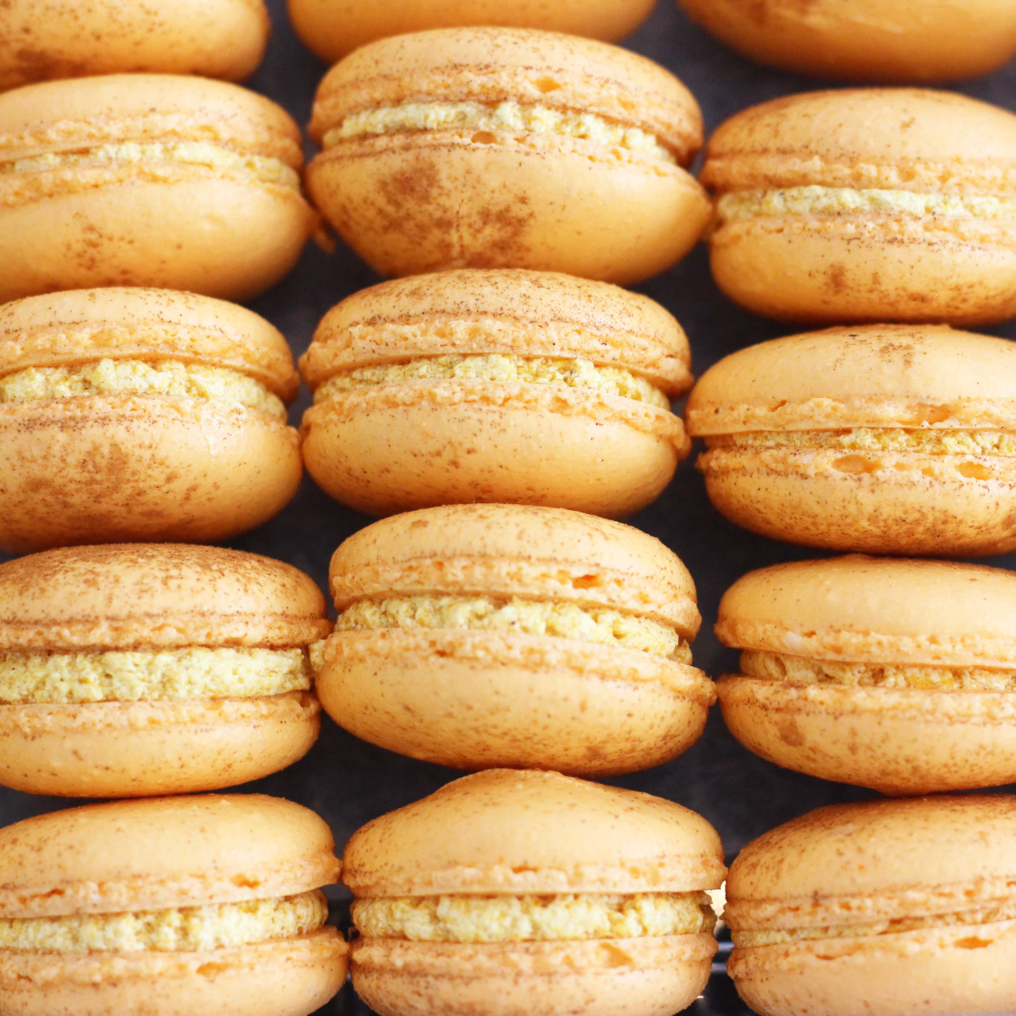pumpkin macarons from Pierrot Catering in New Jersey