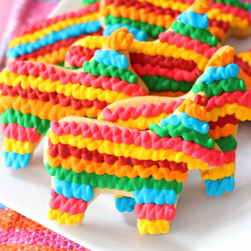 pinata shaped cookies for taco tuesday, cinco de mayo, by cafe pierrot in sparta nj