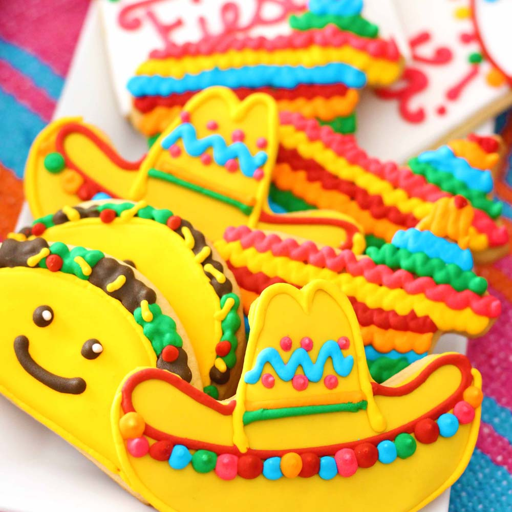 taco tuesday cinco de mayo themed cookies sombrero pinata fiesta by cafe pierrot french bakery in northern new jersey