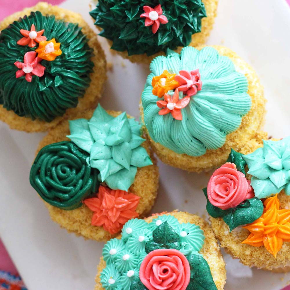 Vanilla Cupcakes with cactus decorations by Cafe Pierrot in Sparta NJ